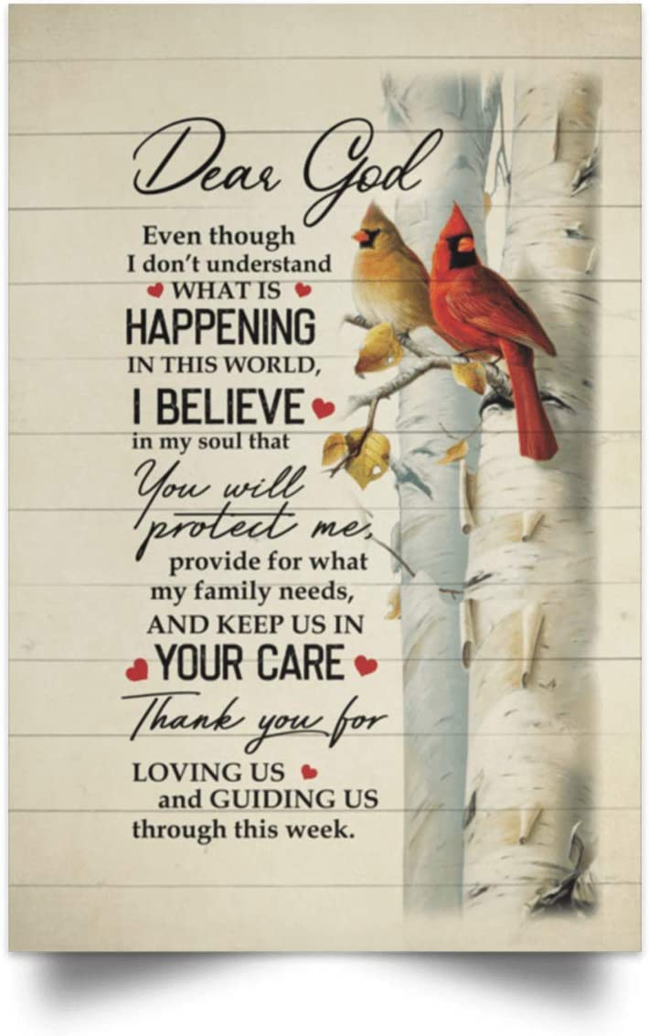 Molomon Meaningful Quote Poster to My Daughter Cardinal Dear God Thank You for Lovin Us and Guiding Us NoFrame Home Decor Paper Poster Print Home Decor Wall Art Kitchen, Living Room Décor 32x48