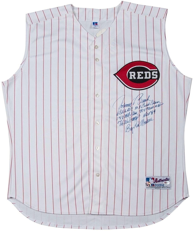 Johnny Bench Signed Heavily Inscribed Stats Cincinnati Reds Jersey PSA DNA COA - Autographed MLB Jerseys