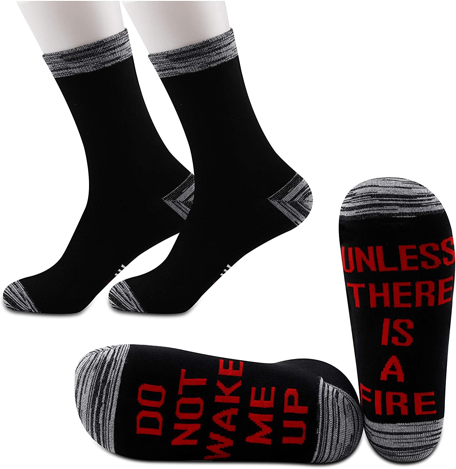 JXGZSO2Pairs Firefighter Gift Firefighter Socks Fireman Gift Do Not Wake Me Up Unless There Is A Fire Socks