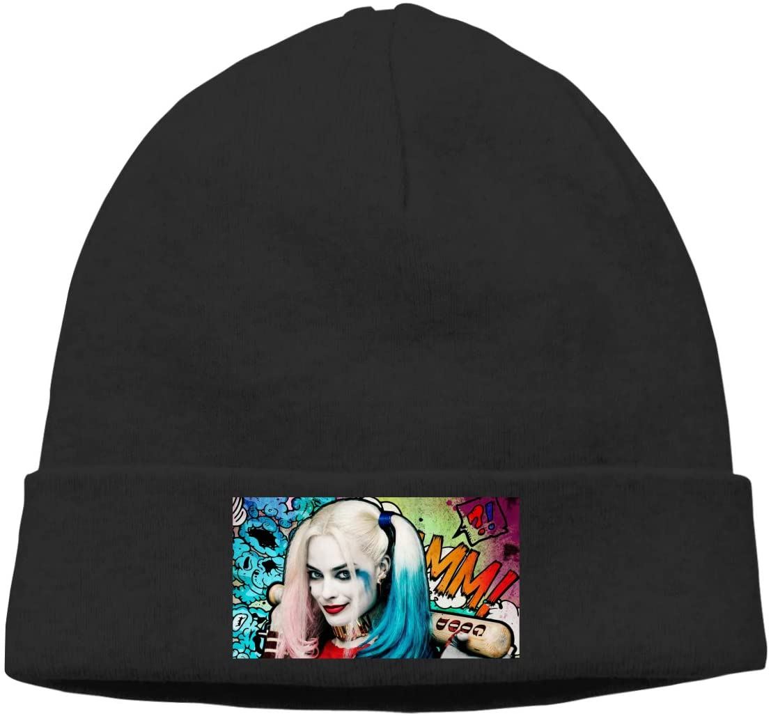 SineRich Harley-Quinn Men and Women Beanie Caps Skull Cap Knitting Hat Hat Hedging Cap Black