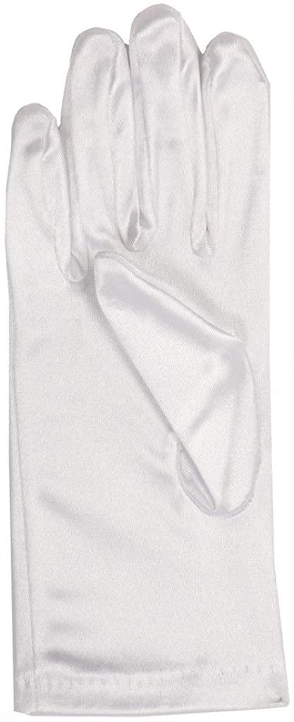 Long Short Satin Gloves for Communion Easter Pageant Wedding Flower Girl Dress