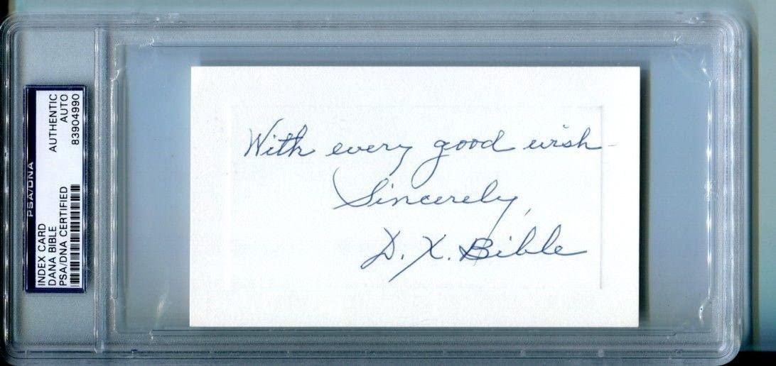 Dana X Bible Signed Index Card 3x5 Autographed Longhorns CFBHOF PSA/DNA 83904990 - College Cut Signatures