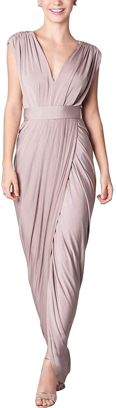 P PROMSTAR V-Neck Bridesmaid Dresses Sleeveless Slit - Pleated Backless for Women Formal Prom Gowns 2020