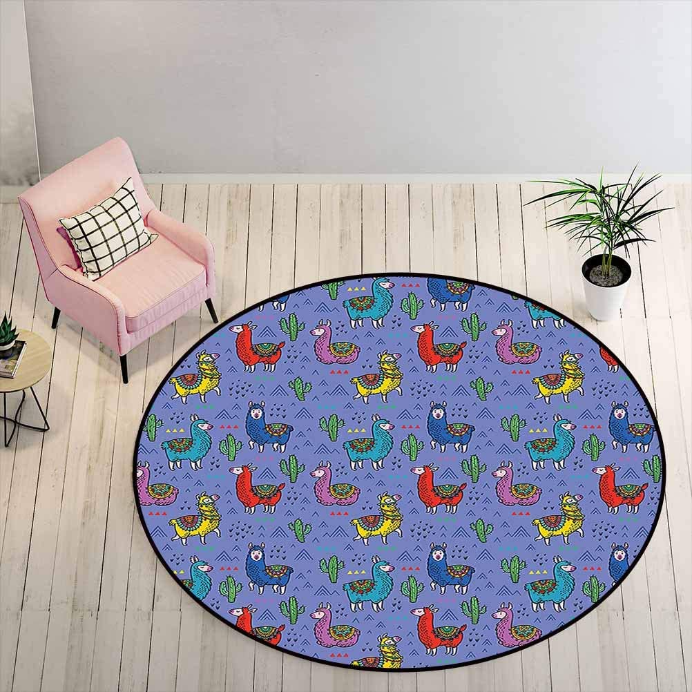 Round Bathroom Rugs 6.5 ft Round - Llama Coffee Table Rug Cartoon Style Furry Animals with Mexican Folk Details Triangle and Cactus Kids Design, Multicolor