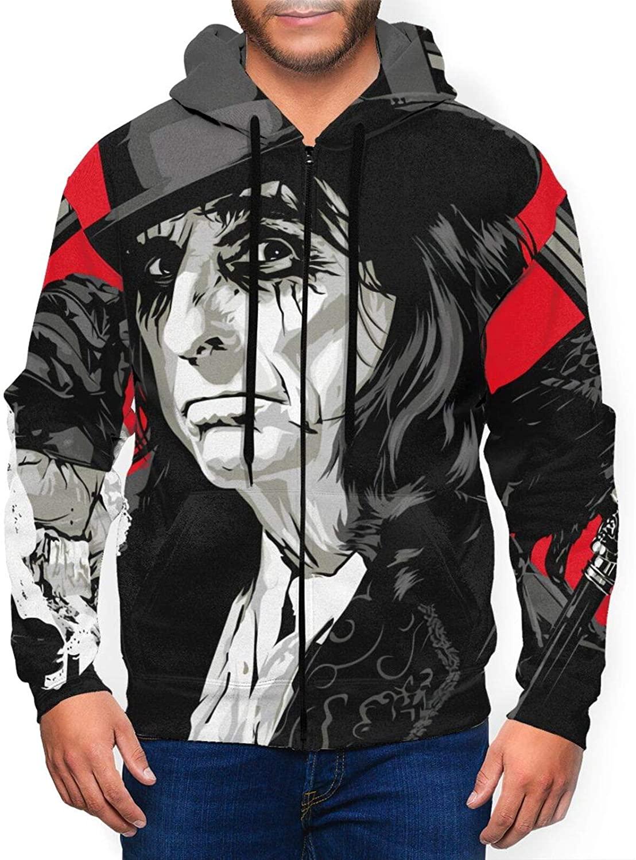 Alice Cooper Ol¡¯ Black Eyes is Back Men's Full Zip Hoodie Long Sleeve Sweatshirt with Pocket