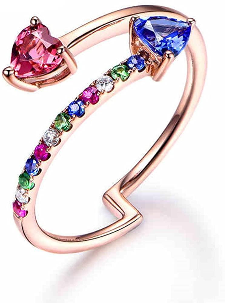 MYRAYGEM-engagement ring Tanzanite Tourmaline Wedding Ring 14k Rose Gold Unique Arrow Women for Her Colorful Gems