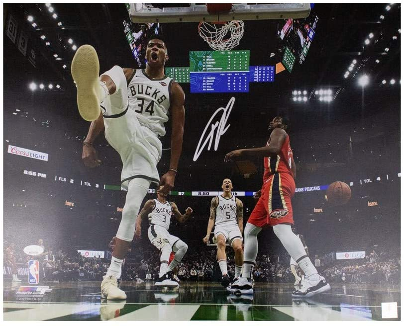 Giannis Antetokounmpo Autographed Milwaukee Bucks 16x20 Photo - JSA COA (Silver Ink)