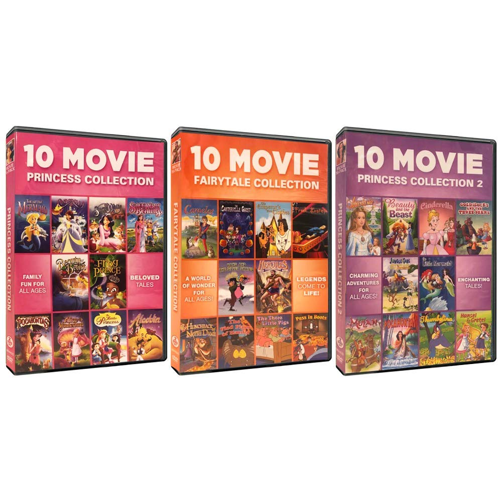 Princess & Fairytale Movies DVD Collection - 30 Classic Stories (Cinderella / Little Mermaid / Mulan / Hercules / & Many More!)
