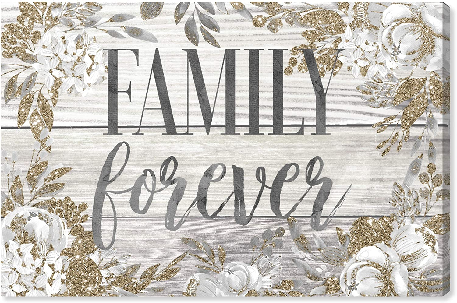 The Oliver Gal Artist Co. Typography and Quotes Wall Art Canvas Prints Family Forever Home Décor, 60 x 40, Gray, Gold