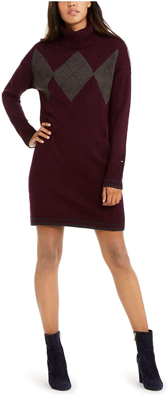 Tommy Hilfiger Womens Purple Argyle Long Sleeve Cowl Neck Above The Knee Shift Dress Size XL