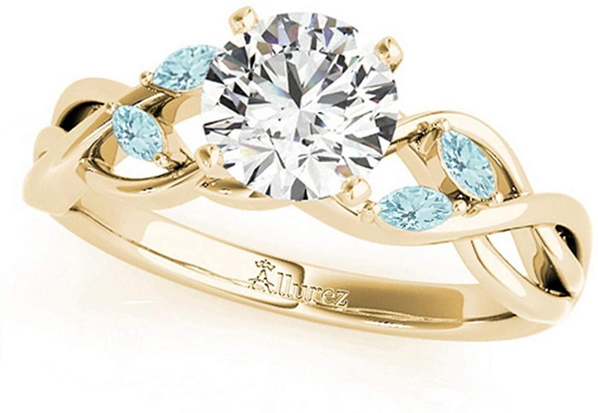 Twisted Round Aquamarines Engagement Ring 14k Yellow Gold (1.50ct)
