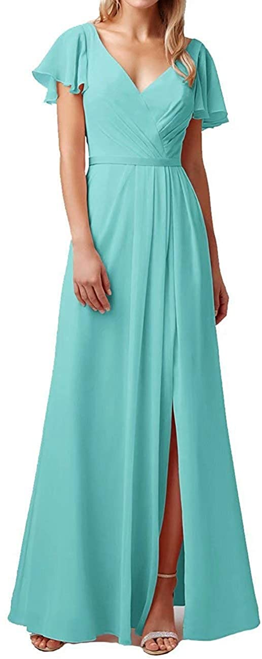 FirstL Short Sleeves Bridesmaid Dress Long A Line Evening Prom Gowns with Ruffles for Women