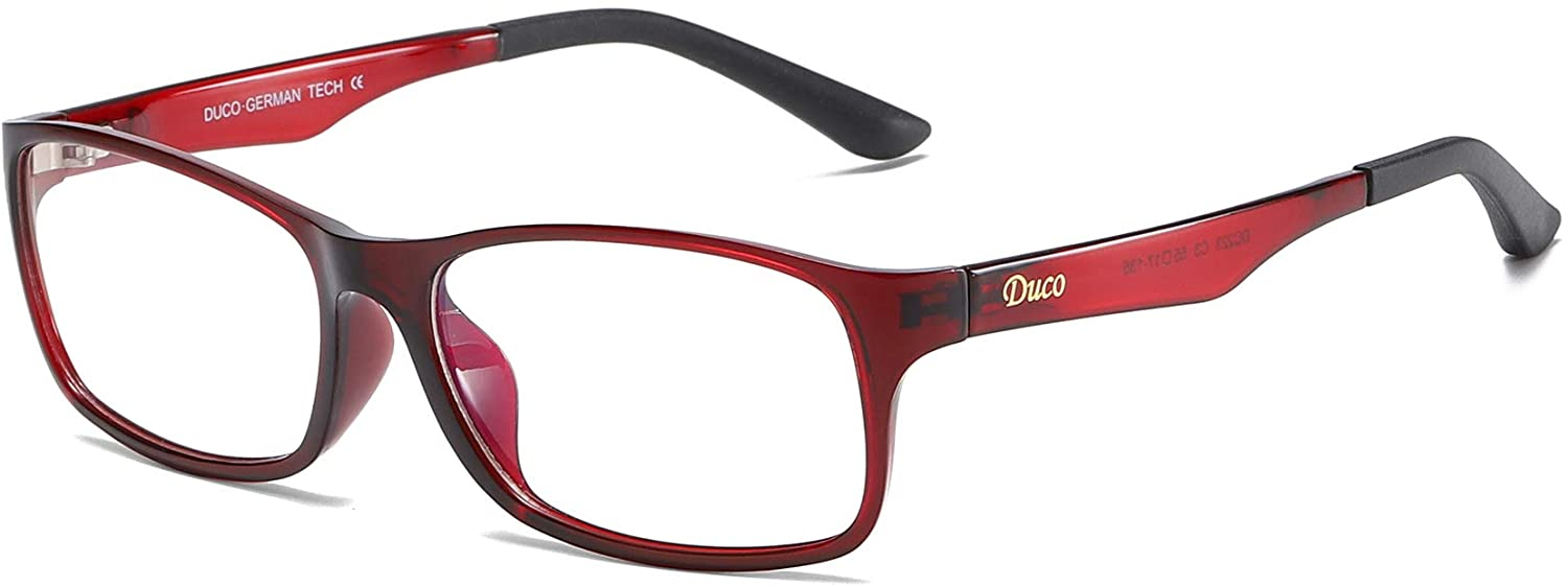DUCO Blue Light Blocking Computer Reading and Gaming Eyewear Glasses,Anti Blue Light 100% UV Protection DC223 (Wine Red)