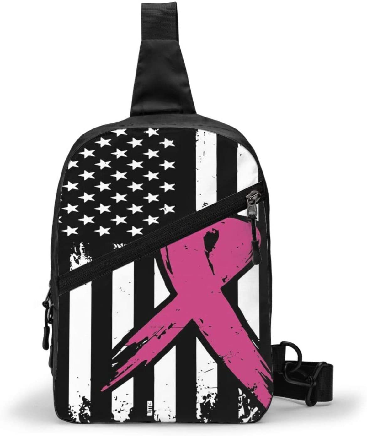 Neddelo Breast Cancer Pink Ribbon USA American Flag Crossbody Bag,Portable Chest Bags,Folding Chest Bag, Men's and Women Sling Bag for Travel,Hiking, Cycling,Camping
