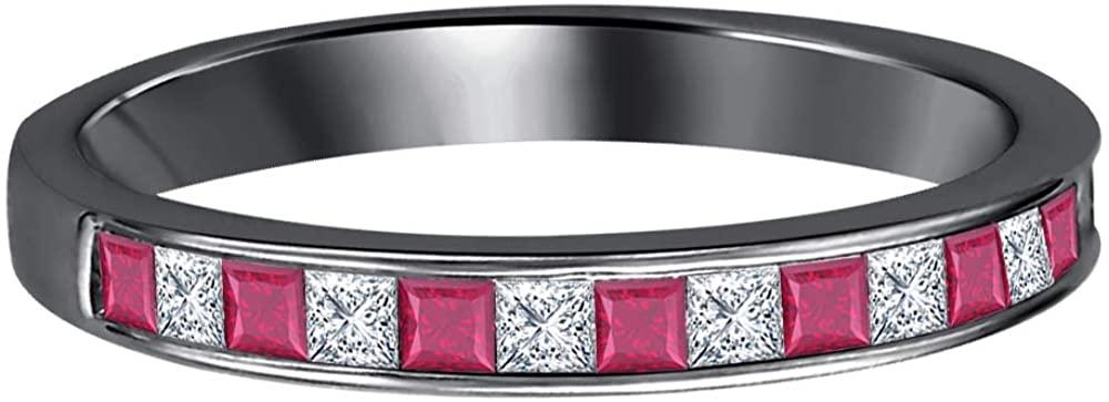 Dabangjewels 1.20Ctw Princess Cut Black & White Diamond 14k Black Gold Plated Engagement Wedding Band Ring for Women's