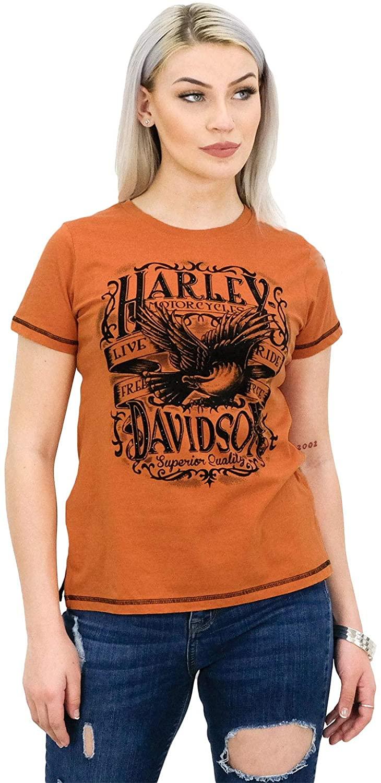 Harley-Davidson Womens Defiance Eagle Banner Orange Short Sleeve T-Shirt