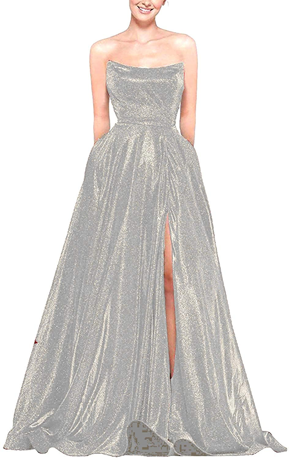 P PROMSTAR Strapless Prom Dresses Long Glitter Slit Ball Gowns Formal Dress for Women with Pockets