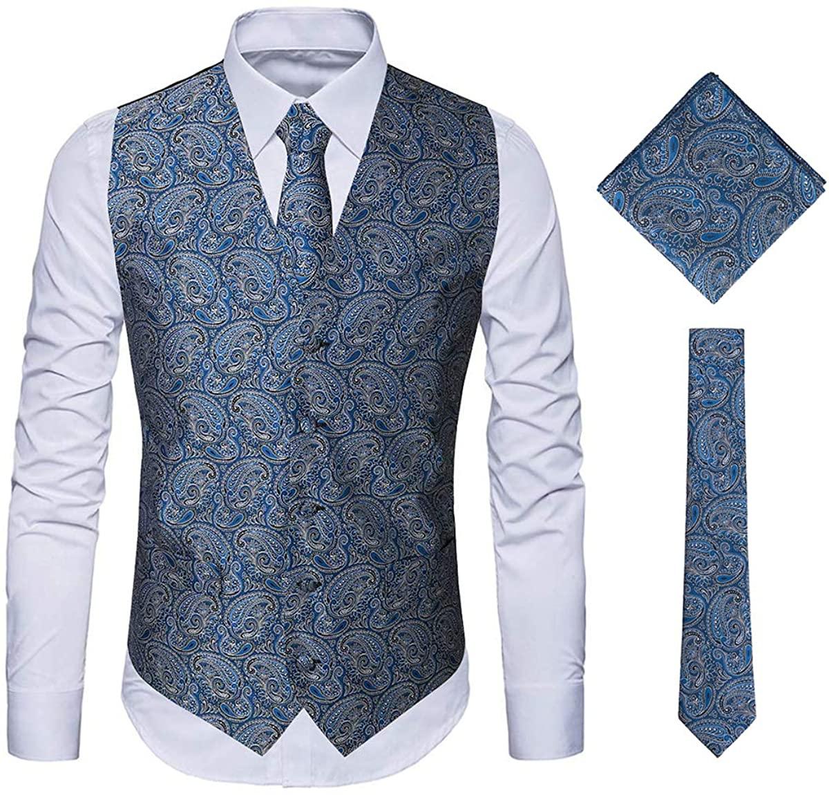MAGE MALE Men's 3pc Paisley Vest Floral Jacquard Vest Waistcoat Necktie Pocket Square Set for Suit or Tuxedo