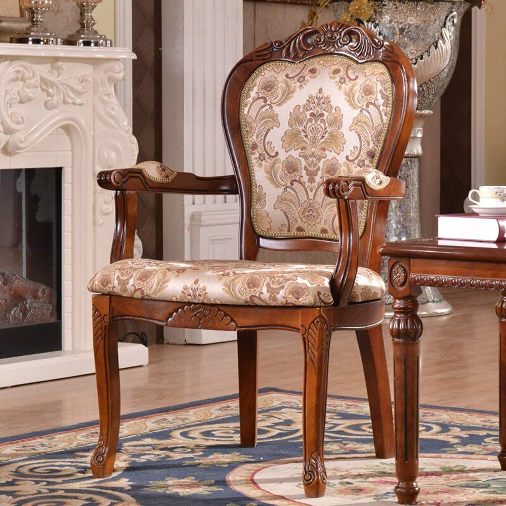 YADSHENG Dining Chair Solid Wood Dining Chair Carved Chair Armchair Rustic Style Easy to Assemble Suitable 2 Pieces Chairs (Color : Brown, Size : 50x58x106cm)