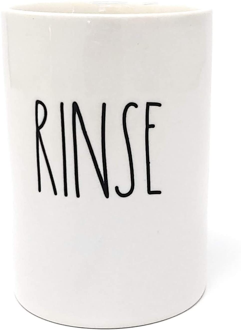 Rae Dunn by Magenta, Unique with Perfect Imperfections. RINSE Cup. Ceramic, Beige, Black LL. 4.25in x 3