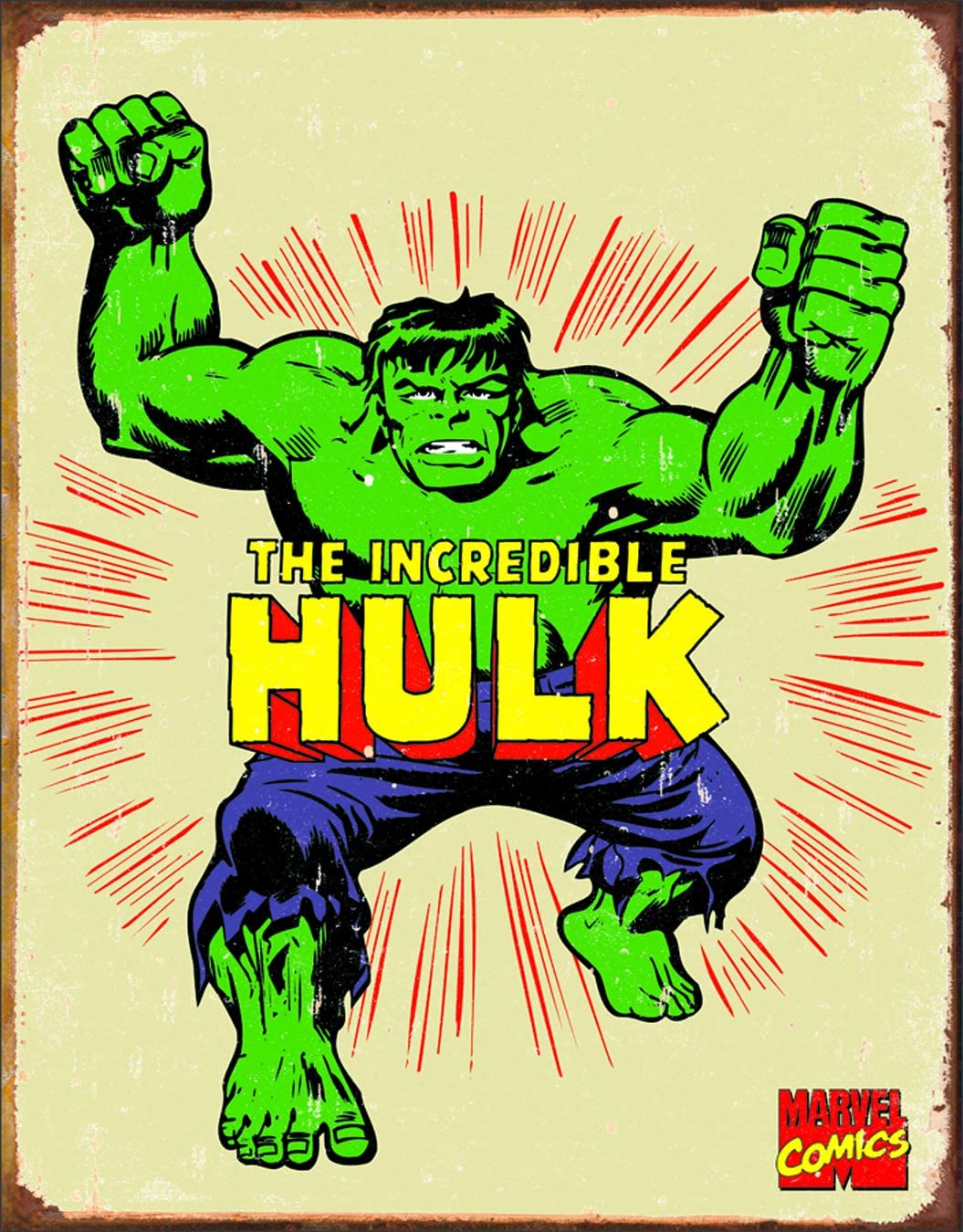 Desperate Enterprises Marvel Comics The Incredible Hulk Retro Tin Sign, 12.5 W x 16 H