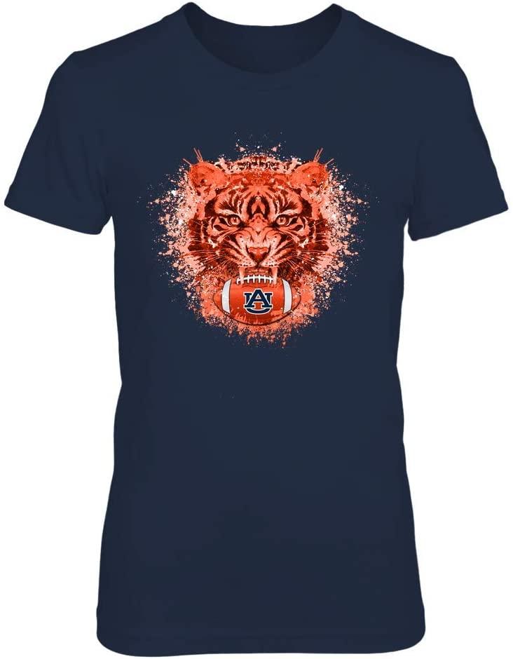 FanPrint Auburn Tigers T-Shirt - Color Drop Tiger Football - If78-Ic78-Ds27 - Women's Tee/Navy / 3XL