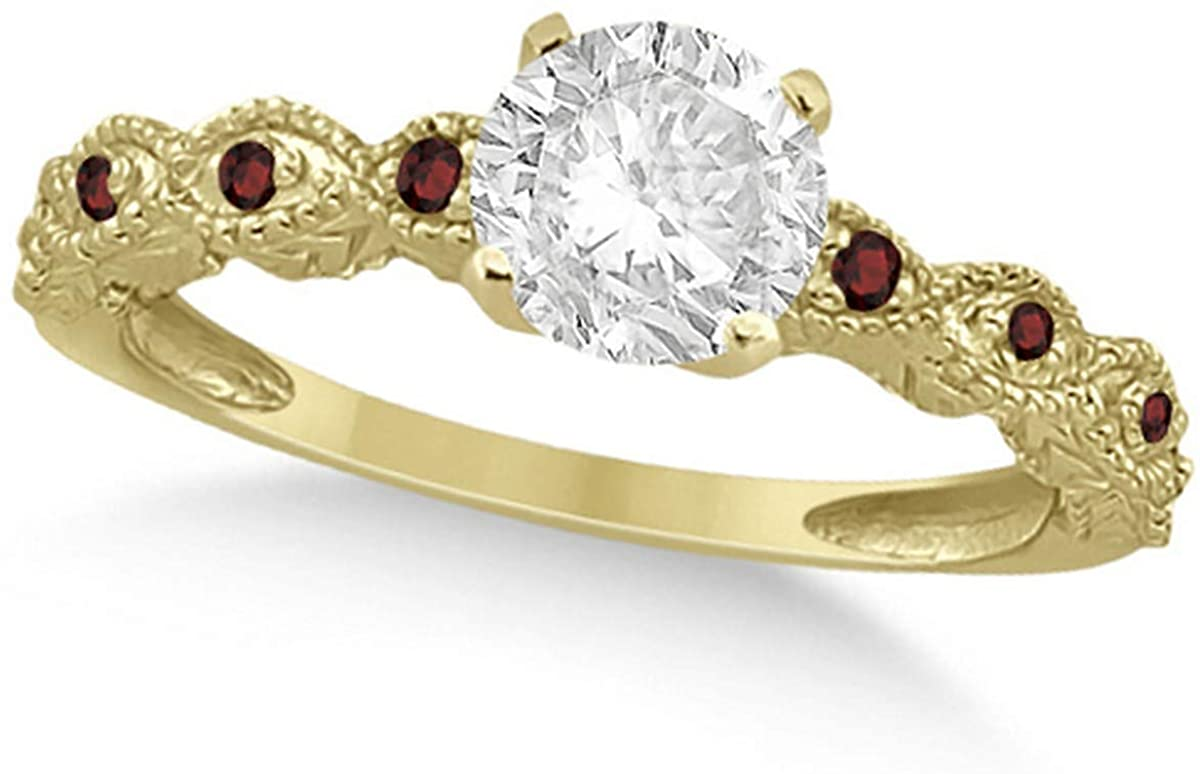 Ladies Vintage Diamond and Garnet Engagement Ring Marquise Style 14k Yellow Gold 0.50ct