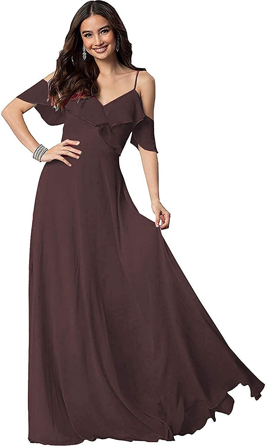 AINNIE Cold Shoulder Bridesmaid Dress Long V-Neck Prom Evening Dress for Wome Brown 17w