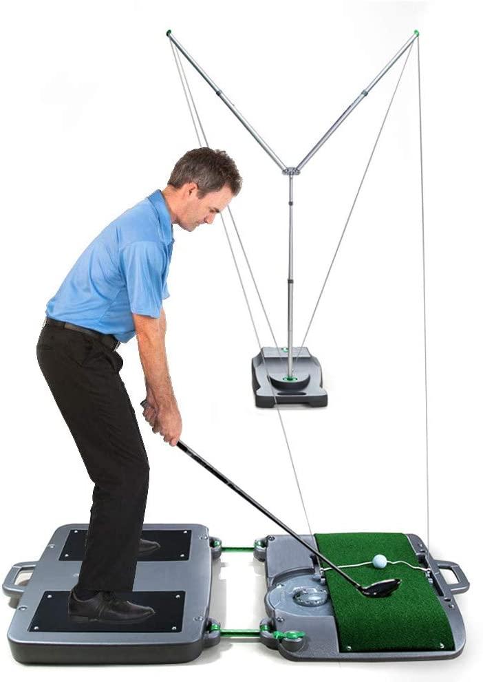 SUQIAOQIAO Beginners Golf Swing Training Adjustable Distance 4m~16m Automatic Ball Return Portable Golf Trainer for Backyard Indoor Lawn