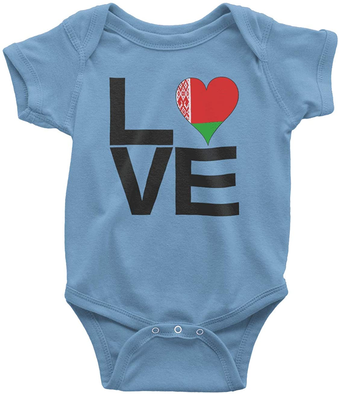 HARD EDGE DESIGN Infant's Love Block Belarus Heart Bodysuit, 6 Months, Carolina Blue