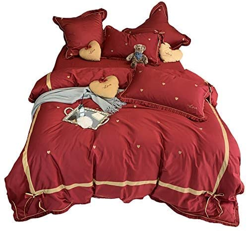 LJFⓇ Bedding Set 60 Long-Staple Cotton Red Princess Style Cotton Four-Piece Love Embroidery Bow Ruffled Quilt Bedding