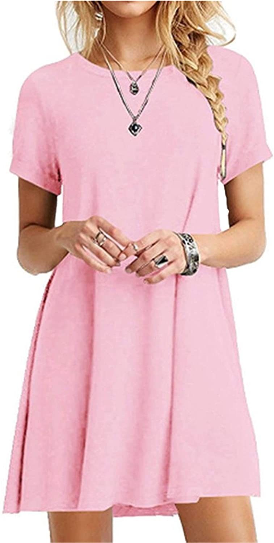 Soluo Women's Summer Casual T Shirt Dresses Short Sleeve Swing Dress (Pink,XX-Large)