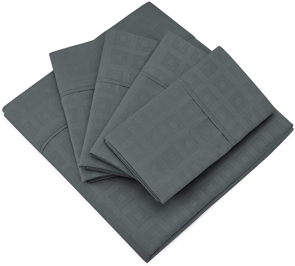 Cosy House Collection King Size Sheets Set - 6 Piece - King Sheets - Silky Soft - Hypoallergenic - Deep Pocket - Elegant Patterns - Stain, Fade & Wrinkle Resistant - Grey - Squares