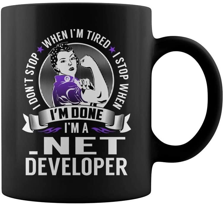 .NET Developer Never Stop Job Title Mug
