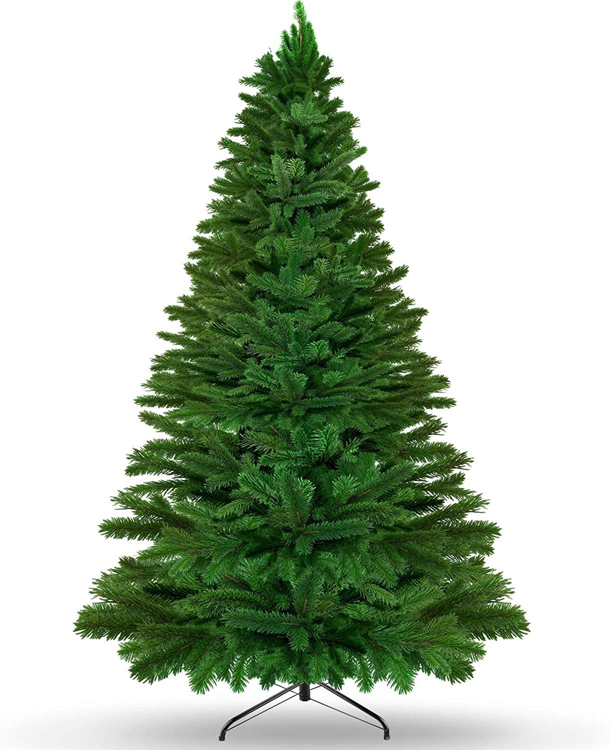 KKTICK Artificial Christmas Tree, Upgrade Fake Xmas Tree with Durable Metal Stand, Easy Assemble, 2106 Branch Tips for Lush Looking, Holiday Decorations for Home and Office, 7.5ft