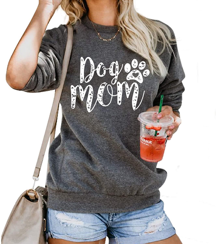FLOYU Dog Mom Shirt Women Dog Mama Funny Pullover Sweatshirt Dog Paw Print Long Sleeve T Shirt
