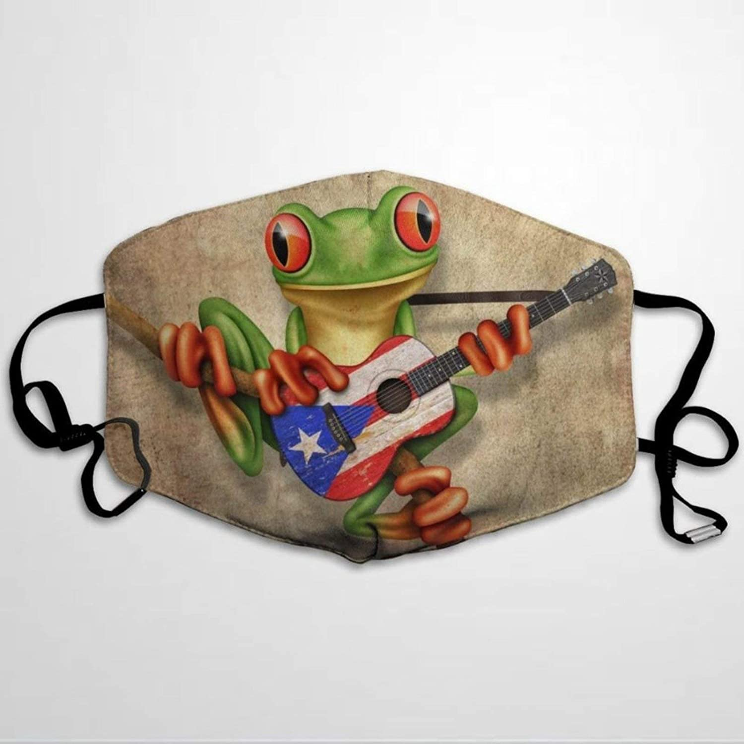 Tree Frog Playing Puerto Rico Flag Guitar Poster Mouth Cover Sleeve Guard With Filter , Reusable Protective & Washable Cover, Fashion Breathable Cover Suitable for Men, Women and The Elderly.