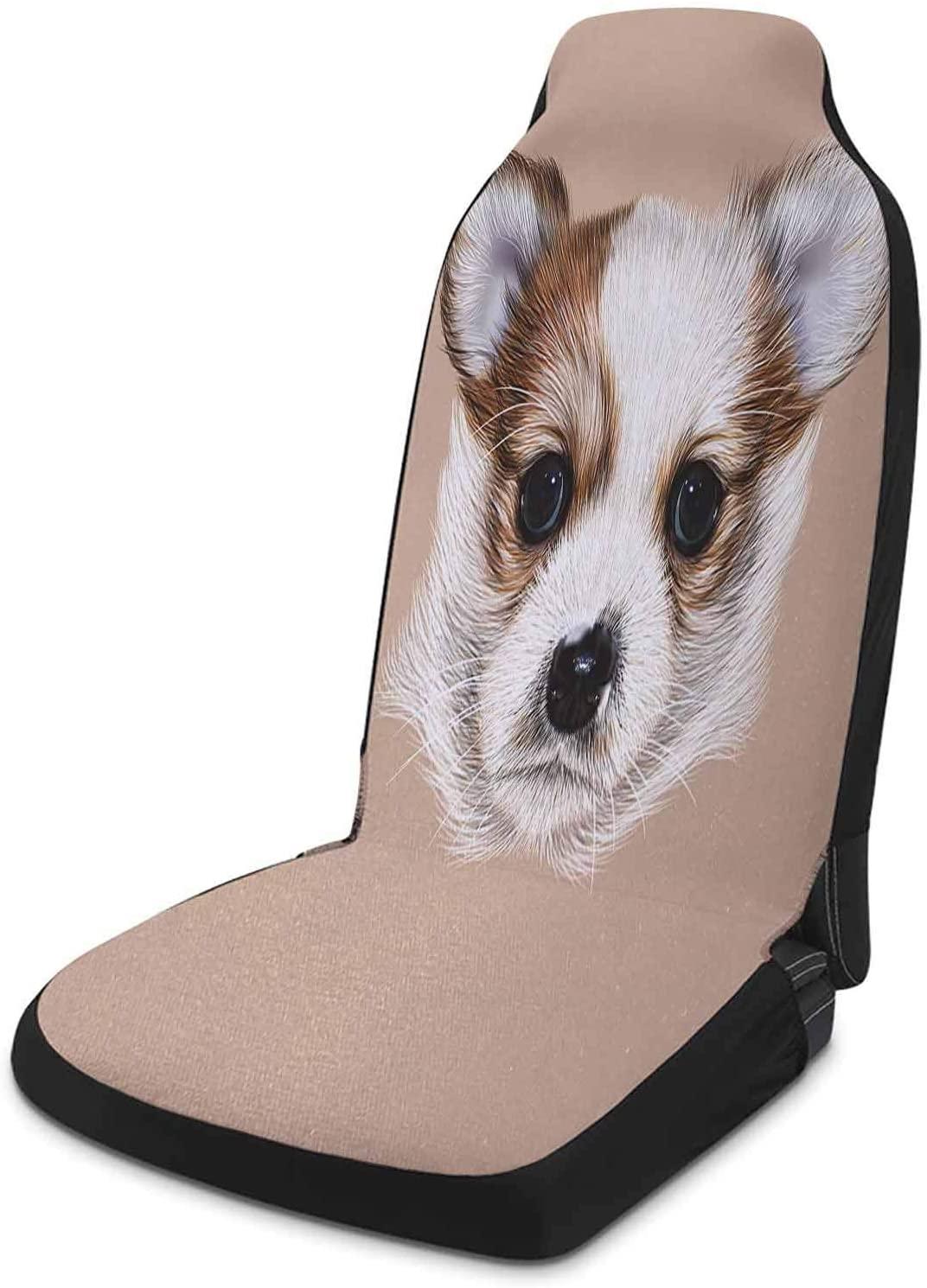 Custom Car Seat Covers 1 Piece, Animal Auto Seat Cover - Puppy Portrait Cute Little Furry Friend Dog Pet Graphic Art, Warm Taupe Beige Light Caramel
