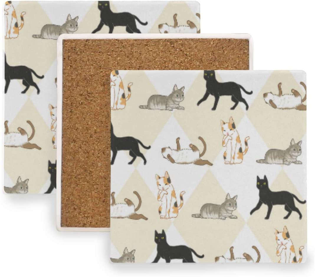 Coaster for Drinks, Seamless Of Cat Doodles Absorbent Coasters with Cork Base, Stone Ceramic Coasters Set, Protect your furniture from scratches and damage from overflow