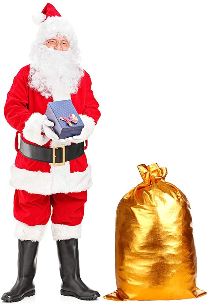 Mrs. Santa Suit Santa Claus Costume Adult Mens Christmas Deluxe Velvet Santa Outfit Suit Xmas Party Santa Suit Set Red (17 Pieces)