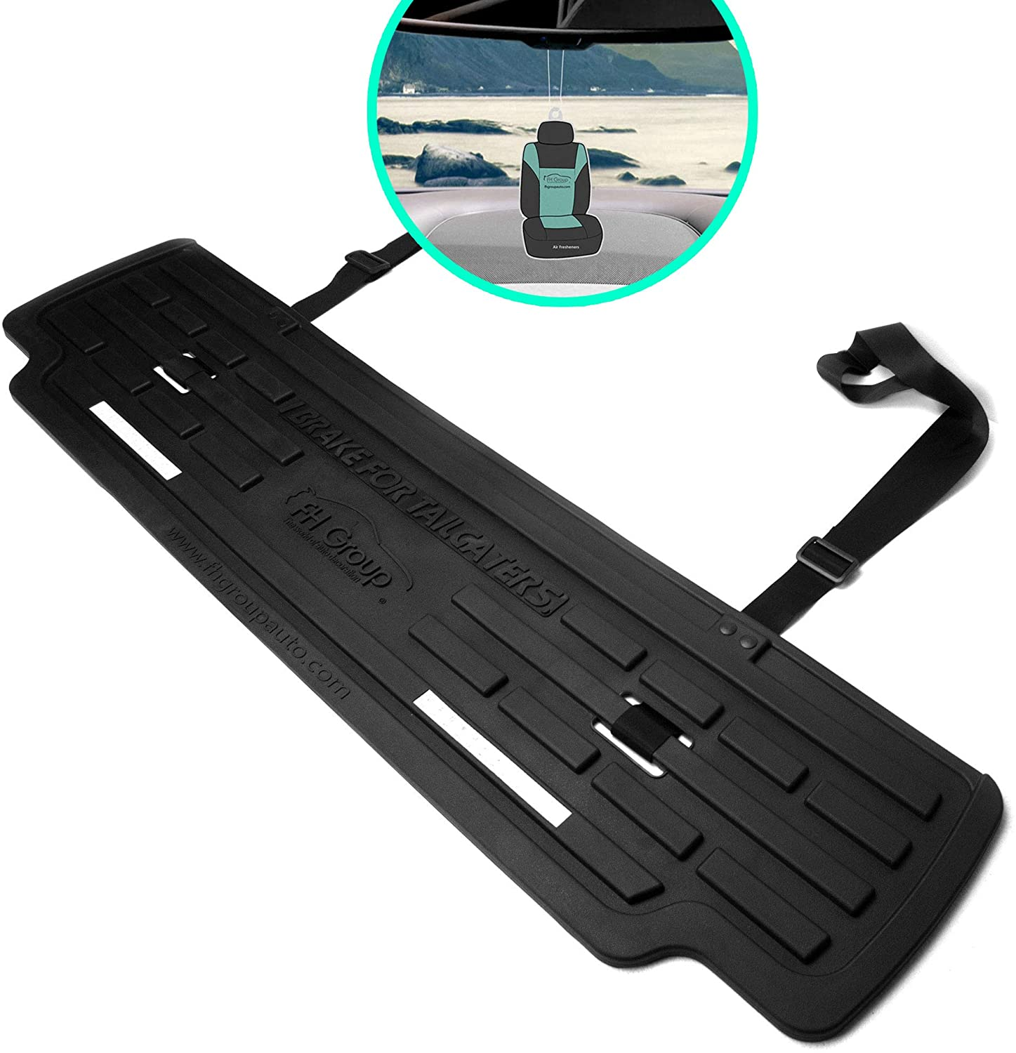 FH Group Universal Fit Rubber Mat for Rear of Vehicle (Black) with Gift- Universal Fit for Trucks, SUVs, and Vans