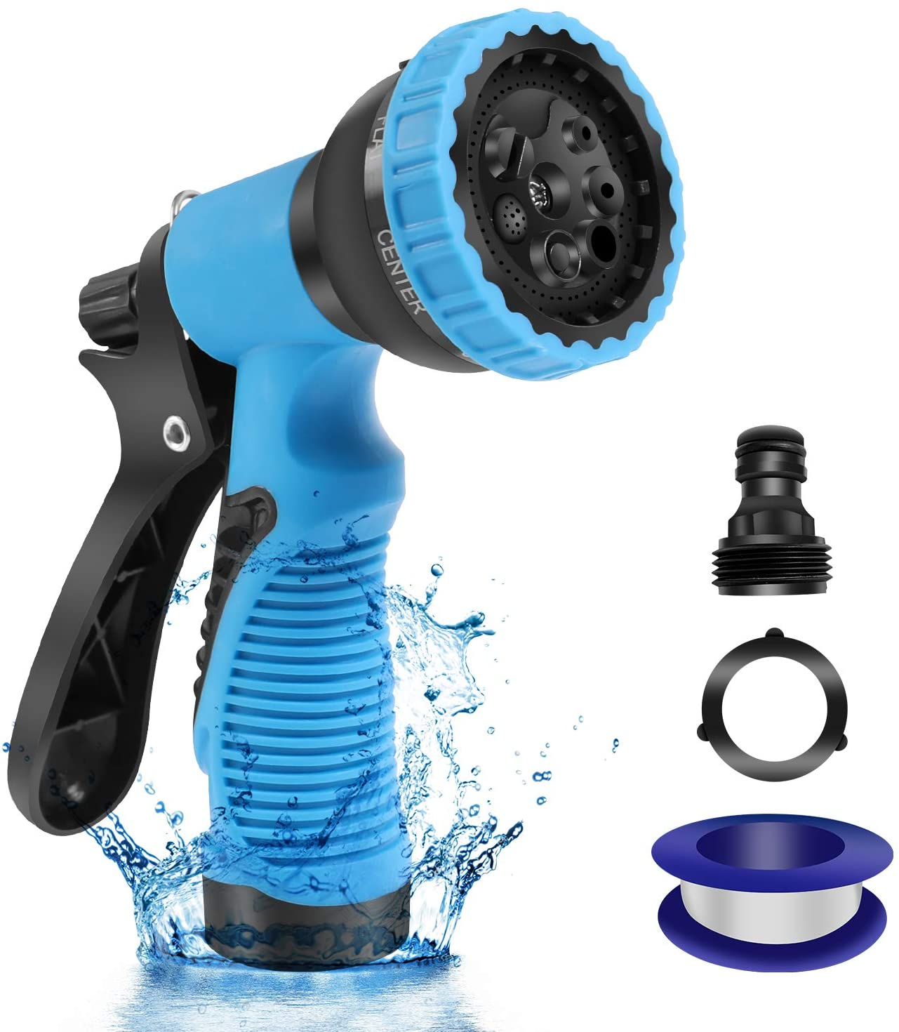 Garden Hose Sprayer Nozzle with 8 Adjustable Pattern, ABS Water Spray Nozzle, Slip Resistant Nozzle Fits All Standard Garden Hoses for Watering Plants, Lawn& Garden, Washing Cars, Showering Pets