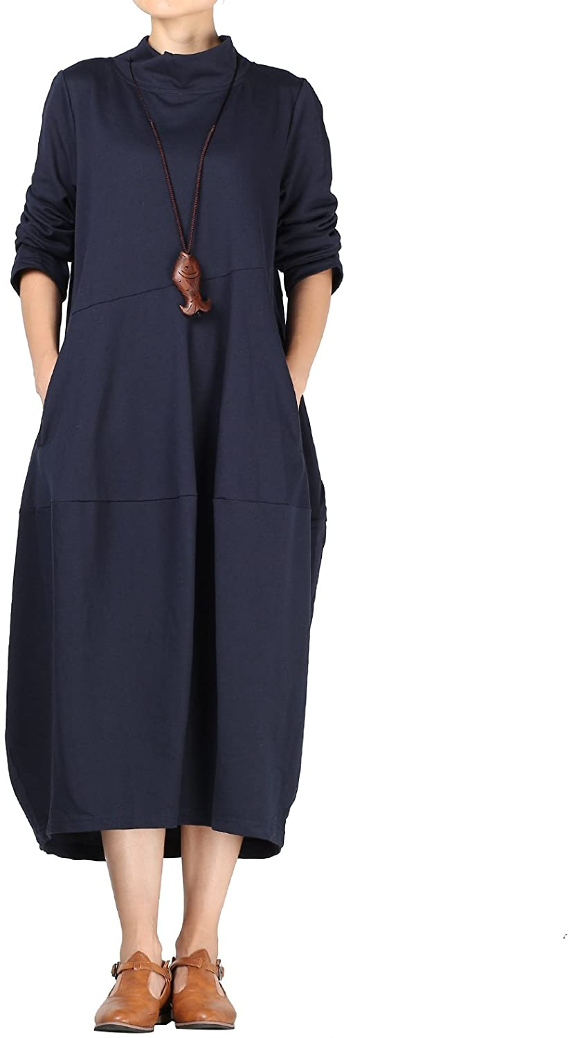 Mordenmiss Women's Autumn Turtleneck Long Baggy Dress with Pockets