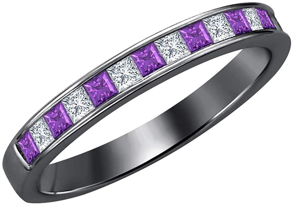 Dabangjewels 1.20Ctw Princess Cut Amethyst & Diamond 14k Black Gold Plated Engagement Wedding Band Ring for Womens