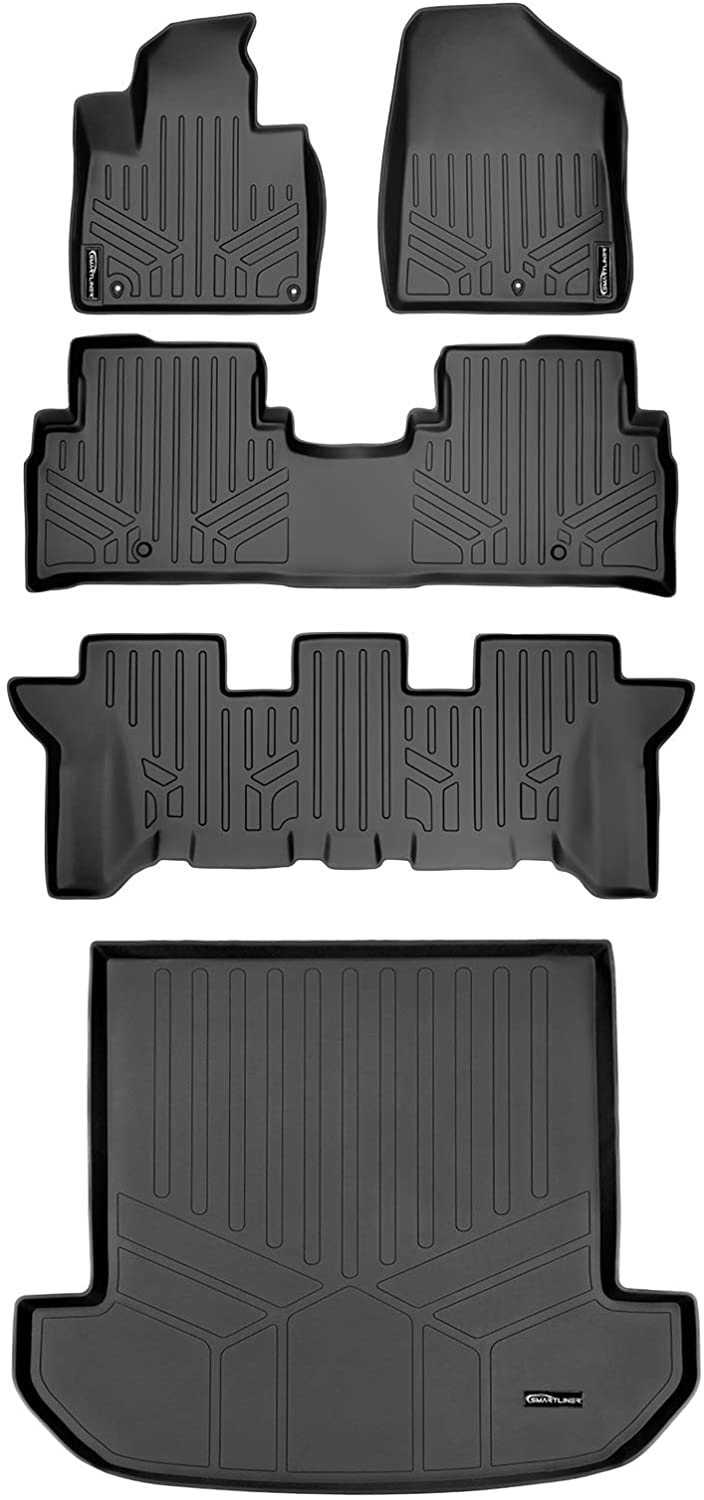 MAXLINER Floor Mats 3 Rows and Cargo Liner Set Black for 2016-2019 Kia Sorento 7 Passenger Model Only