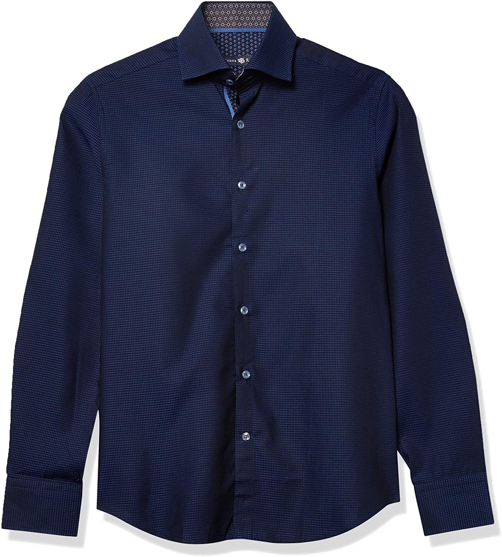 Stone Rose Men's Long Sleeve Waffle Texture Woven Shirt