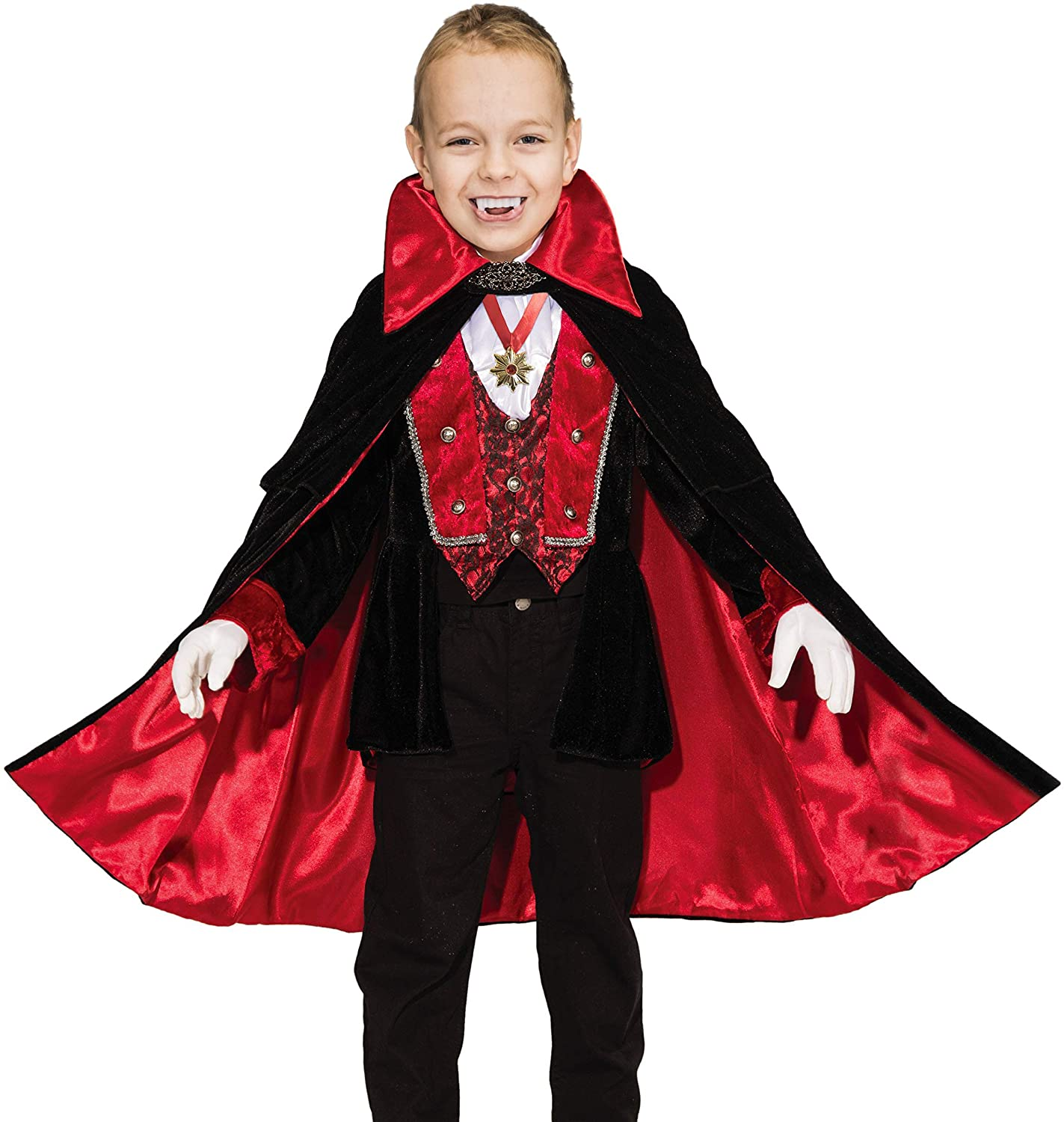 Funnlot Vampire Costume for Boys, Boys Vampire Costume Deluxe Vampire Toddler Kids Vampire Costumes for Boys with Medallion Necklace Halloween Party Dress Up Role Play and Cosplay