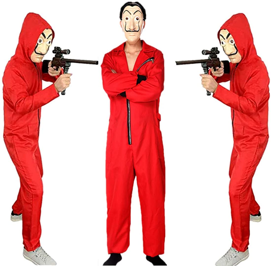 BING RUI CO Unisex Dali Mask Red Costume for La Casa De Papel Coverall Jumpsuits