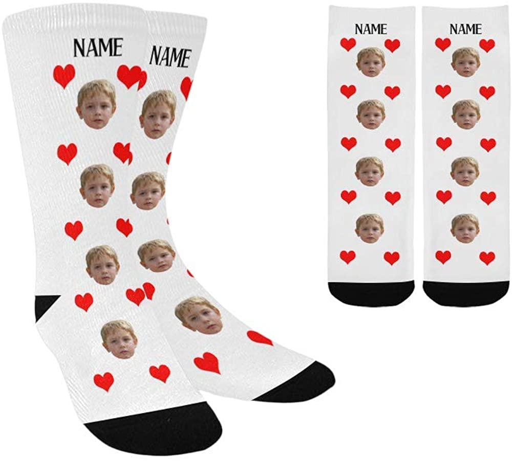 Custom Face&Name Socks with Picture Personalized Photo Crew Socks Gift for Boy Girl Gift Love