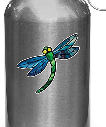 Yadda-Yadda Design Co. Stained Glass Style Dragonfly - D3 - Vinyl Water Bottle Decal - Copyright (2.75